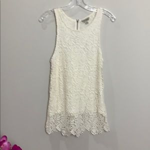 Lucky Brand cream lace lined sleeveless tunic top